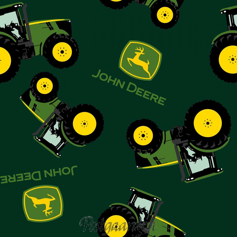 7482 Grøn patchworkstof med John Deere Traktorer