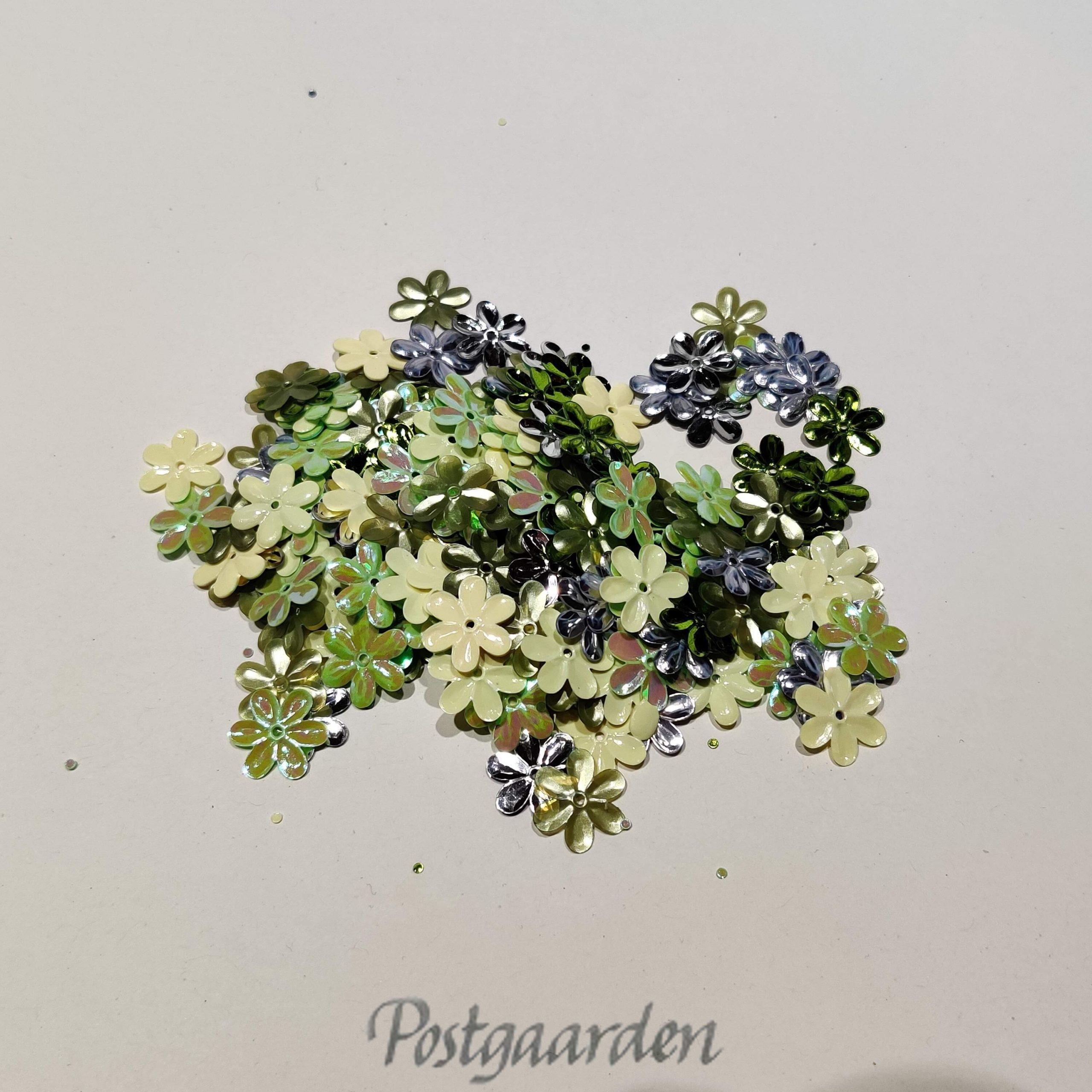 Grøn blomst Pailletter
