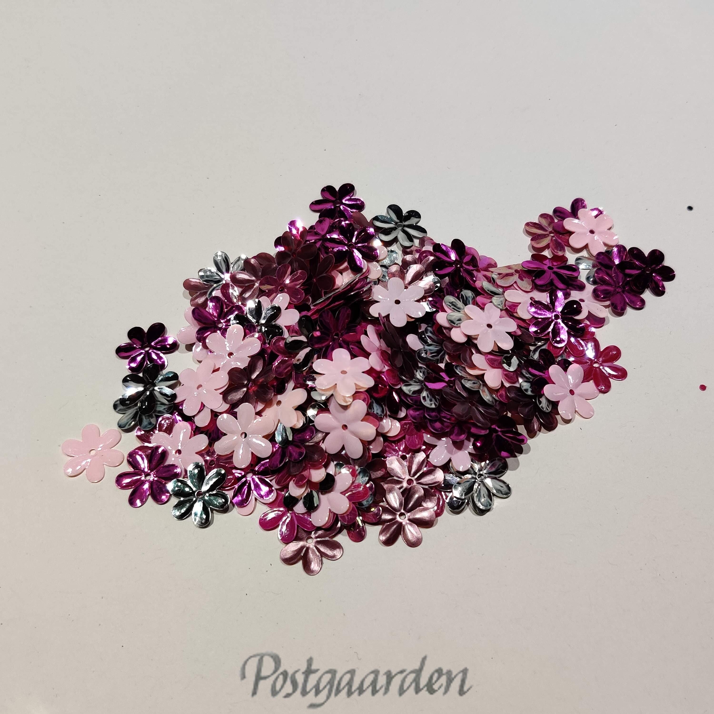 Pink blomst pailetter