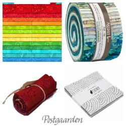 Stofpakker, Jelly Rolls, stofruller og Charm Packs
