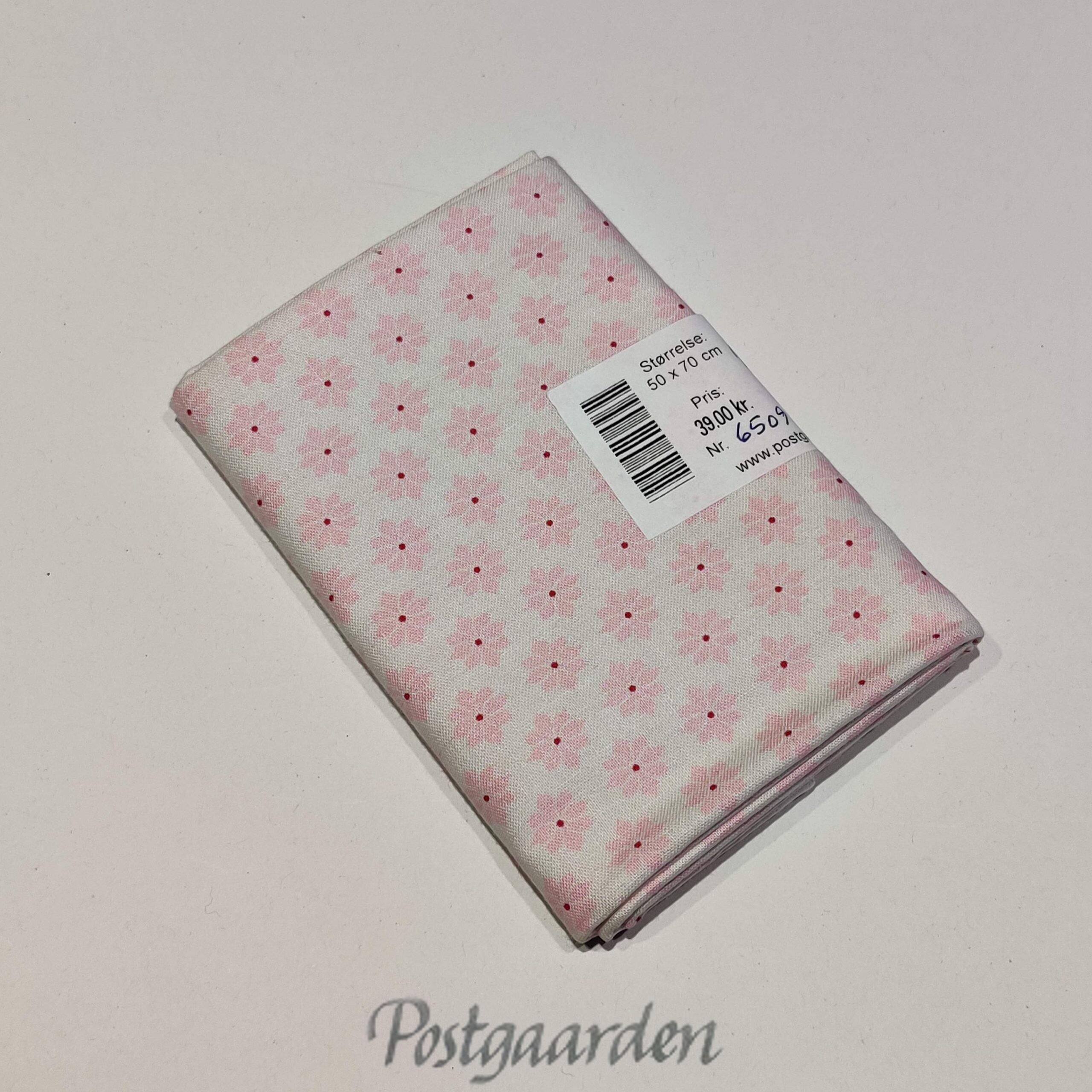 FQ6509 Hvid med lyserøde blomster patchworkstof fat quarter