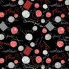 7544 Sort patchworkstof med strikketøj og garn