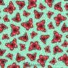 7575 Tyrkis med pink sommerfugle patchworkstof