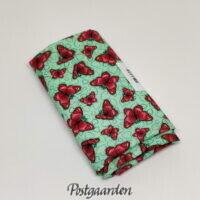 FQ7575 Tyrkis med pink sommerfugle patchworkstof