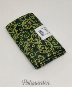 FQ7587 Grøn patchworkstof med snirkler i guld - JUL