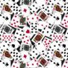 7603 Sort med spillekort patchworkstof