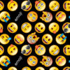 7608 Sort med emoji patchworkstof