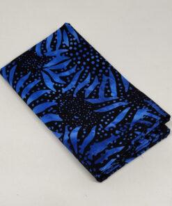FQ7606 Sort med blå solsikker bali batik patchworkstof