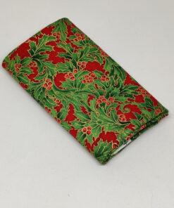 FQ7609 Rød med kristtjørn jule patchworkstof