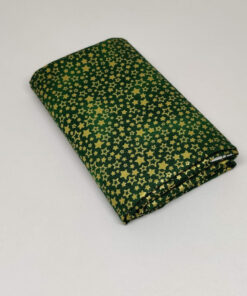 FQ7618 Grøn med guld stjerner patchworkstof JUL