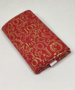 7622 Rød med guld ord skrift JUL - patchworkstof